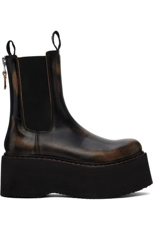 R13 Black Double Stack Smudge Chelsea Boots