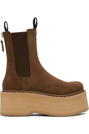 R13 Brown Double Stack Chelsea Boots