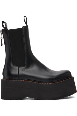R13 Black Double Stack Chelsea Boots