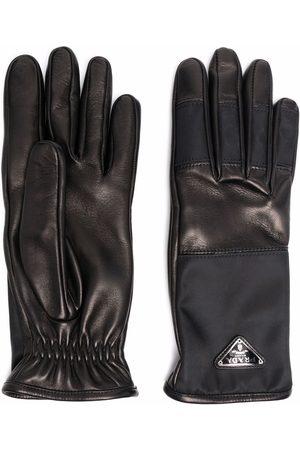 Prada Re-Nylon logo-plaque panelled gloves