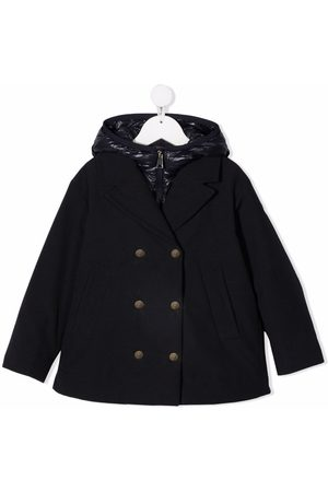 Moncler Quilted-hood double-breasted coat