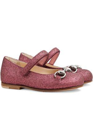 Gucci Horsebit glitter-effect ballerina shoes