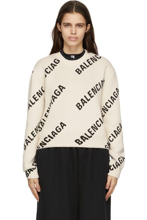 Balenciaga Off-White Cropped Allover Logo Sweater