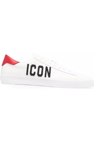 Dsquared2 Icon embroidered leather trainers