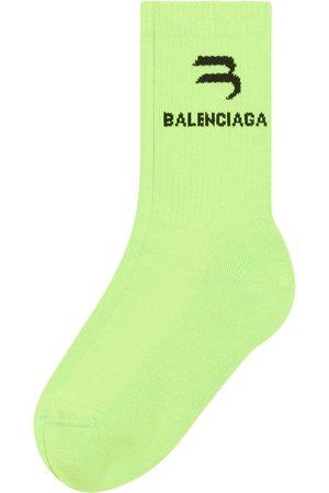 Balenciaga Ribbed-knit logo-intarsia socks