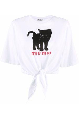 Miu Miu Cat-print logo crop top