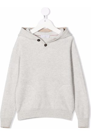Brunello Cucinelli Ribbed buttoned hoodie