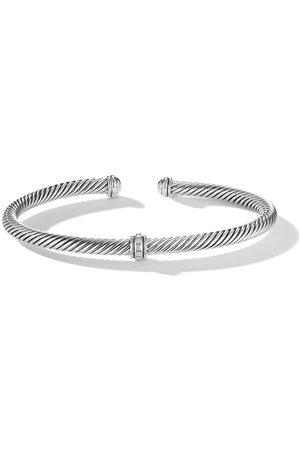 David Yurman Sterling 4mm Cable Station diamond bracelet