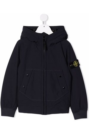 Stone Island Compass-patch padded hooded jacket