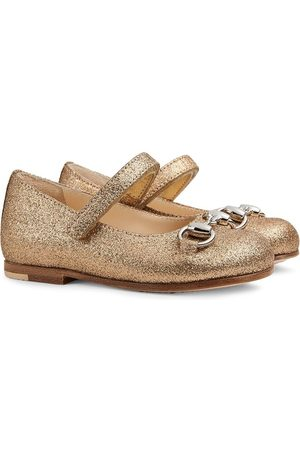 Gucci Kids Horsebit glitter-effect ballerina shoes