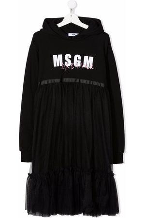 Msgm TEEN logo-print hooded dress