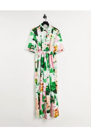 Liquorish Dames Playsuits - Shirt jumpsuit with wide legs in abstract print-Multi