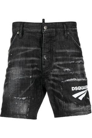 Dsquared2 Logo print distressed denim shorts