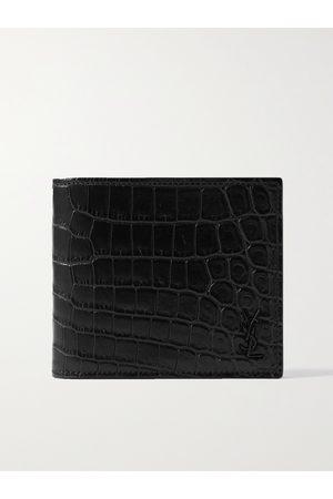 Saint Laurent Heren Portefeuilles - Logo-Appliquéd Croc-Effect Leather Billfold Wallet