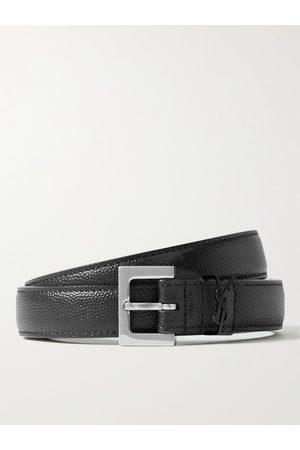 Saint Laurent Heren Riemen - 2cm Pebble-Grain Leather Belt