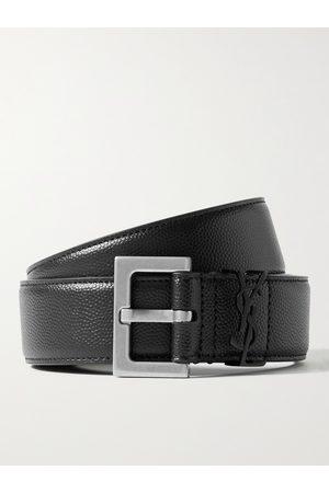 Saint Laurent Heren Riemen - 3cm Pebble-Grain Leather Belt