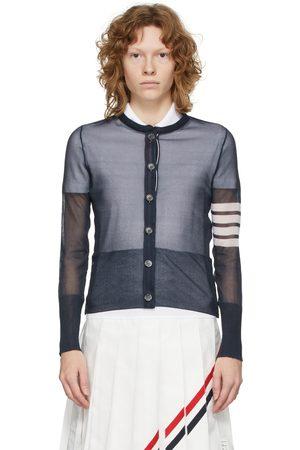 Thom Browne Navy Silk Sheer 4-Bar Cardigan