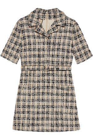 Gucci Square G check tweed shirt dress
