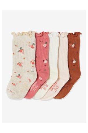 Vertbaudet 5 paar sokken met bloemen voor meisjes set zandkleurig