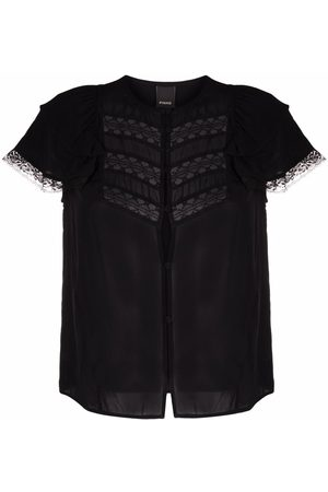 Pinko Dames Blouses - Lace-trim short-sleeved blouse