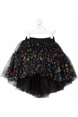MONNALISA Floral-print tulle skirt