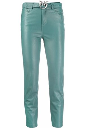 Pinko Leather-effect belted cropped trousers