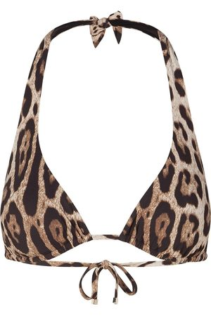 Dolce & Gabbana Dames Bikini's - Leopard-print halterneck bikini top