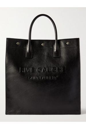 SAINT LAURENT Logo-Embossed Leather Tote Bag