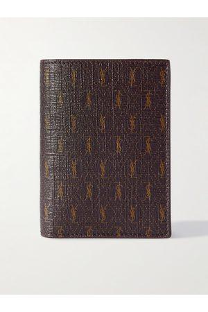 Saint Laurent Leather-Trimmed Monogrammed Canvas Billfold Wallet