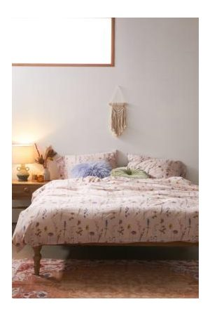 Urban Outfitters Pink Pressed Flowers Duvet Cover Set With Reusable Fabric Bag