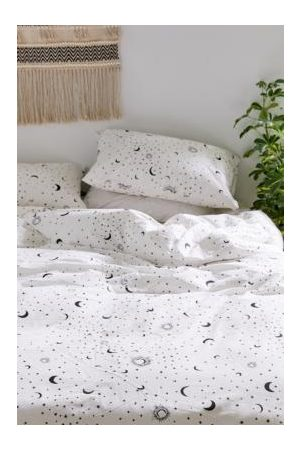 Urban Outfitters Black & White Moon Duvet Cover Set With Reusable Fabric Bag