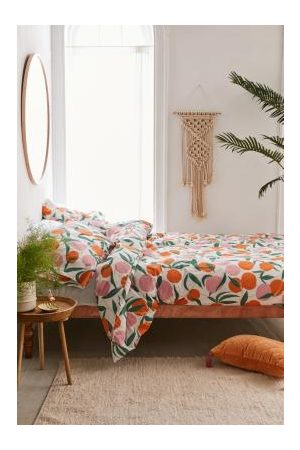 Urban Outfitters Large Peach Duvet Cover Set With Reusable Fabric Bag
