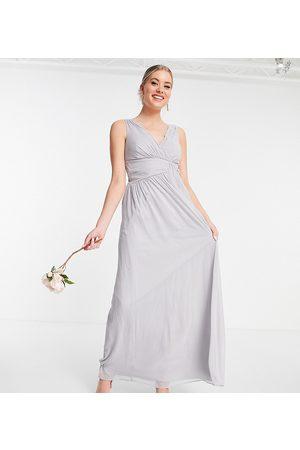 Little Mistress Bridesmaid v neck maxi dress in grey