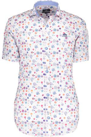 State of Art Heren Overhemden - Overhemd wit grafische stippen dessin met korte mouwen