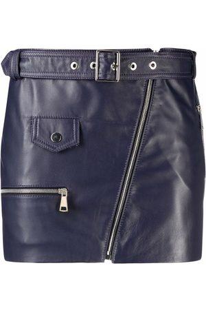 Manokhi Leather biker mini skirt
