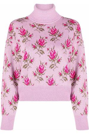 RED Valentino Patterned intarsia-knit roll-neck jumper