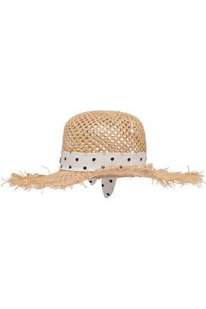 Miu Miu Dames Hoeden - Polka-dot print raffia hat