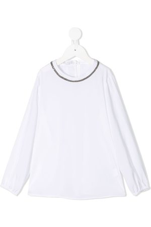Brunello Cucinelli Micro stud-embellished long-sleeved blouse