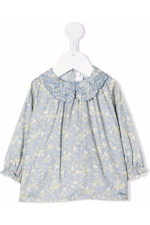 Chloé Baby Blouses - Embroidered-collar floral blouse