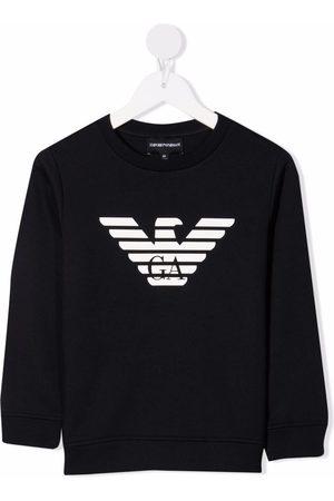Emporio Armani Jongens Sweaters - Logo-print crew neck sweatshirt