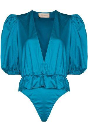 Adriana Degreas Puff sleeve peplum bodysuit