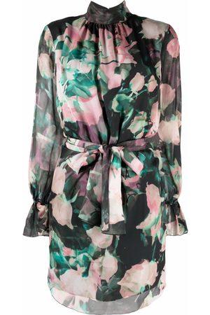 BLUMARINE Rose-print silk mini dress