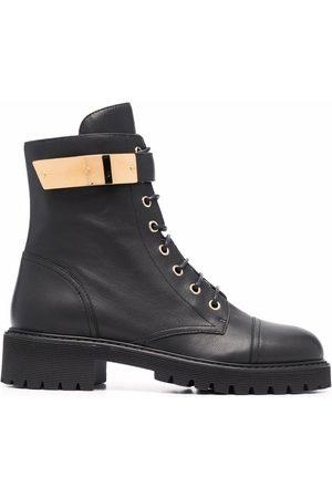 Giuseppe Zanotti Dames Bikerboots - Leather lace-up biker boots
