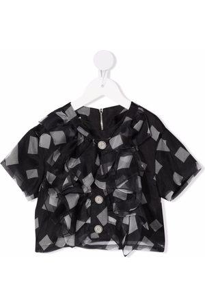 Balmain Square-print ruffled blouse