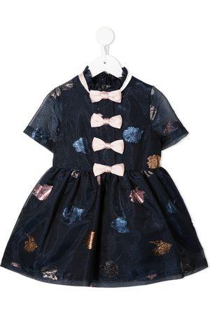 HUCKLEBONES LONDON Multi-bow organza mini dress