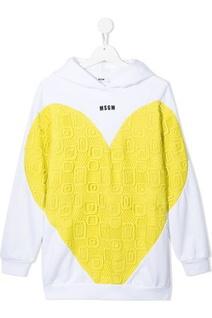 Msgm Heart-print embroidered hoodie