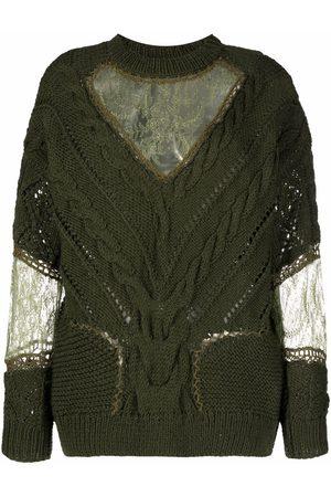ALMAZ Lace-panel cable-knit jumper