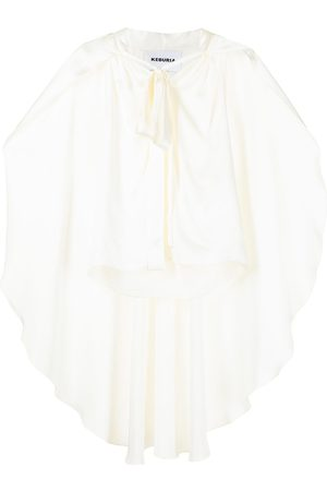 George Keburia Cape pussybow-collar blouse