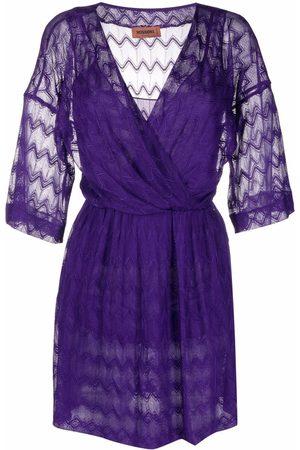 Missoni Zigzag-embroidery V-neck dress