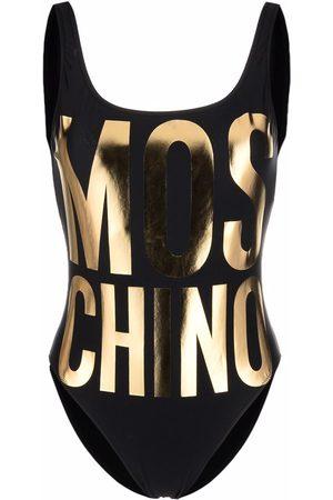 Moschino Metallic-logo print swimsuit